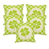 Khrysanthemum Oxford Cotton Go Green Flower Cushion Cover (Set Of 5) - 16 x 16 inches, Green