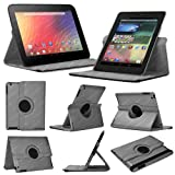 Stuff4 MR-NX7-L360-GY-STY-SP Leather Smart Case with 360 Degree Rotating Swivel Action and Free Screen Protector/Stylus Touch Pen for 7 inch Google Nexus 7 - Grey