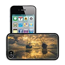 buy Luxlady Premium Apple Iphone 4 Iphone 4S Aluminum Backplate Bumper Snap Case Image Id 31628228 Fishing Sea Boat And Sunrise Clouds Before Strom In Thailand Gold Light Tone Vintage