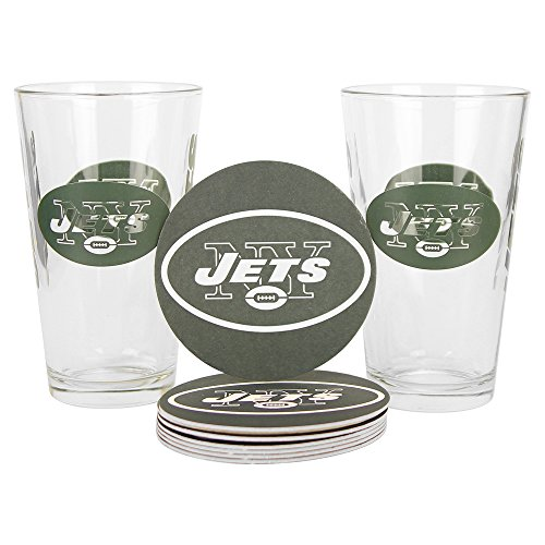Dallas Cowboys Stainless Steel Coasters 4 Pack: NFL Pint Glass And Coaster Set (2 Pack) (New York Jets