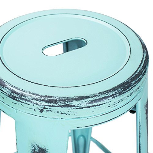 Adeco 30-inch Metal Stools, Vintage Barstool, Antique Light Blue, set of 2 1