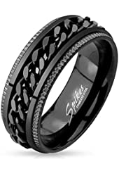 STR-0450 Stainless Steel Black IP Grooved Edge Center Chain Spinner Ring