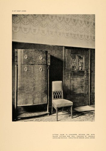 1906 Josef Urban Art Nouveau Sitting Room Chair Print - Original Halftone Print