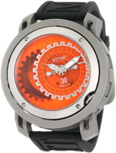 Ritmo Mundo Men's 202/3 TIT Orange Black Persepolis Dual-Time Exhibition Automatic Watch