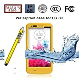 LG G3 Case, Sophia Shop LG G3 Full-body Protective Waterproof Case, Slim Fitted [IP-68 6.6 ft Underwater Waterproof] [Shock Proof] [Dust Proof] [Dirt Proof] [Snow Proof] Hard Shell Triple Layer with Built-in Kick-Stand Armor Cover Case for LG G3 D850 D85 D855 VS985 LS990 Carrier Compatibility AT&T, Verizon, T-Mobile, Sprint, And All International Carriers with Retail Packing (Yellow)