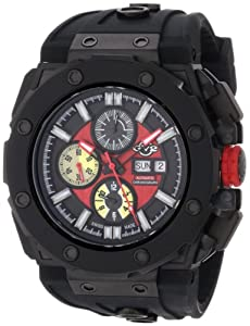 Gv2 Corsaro Men's Automatic Watch with Red Dial Analogue Display and Black Rubber Strap 8805