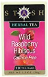 Stash Tea Company Wild Raspberry Hibiscus Herbal Tea, 20 Count Tea Bags in Foil (Pack of 6)