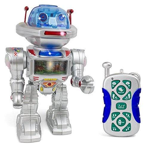 Giant Remote Control Robot Figure - Realistic Sounds and Lights - Assorted Image Projection Function - Flying Disc (Robots Figures compare prices)