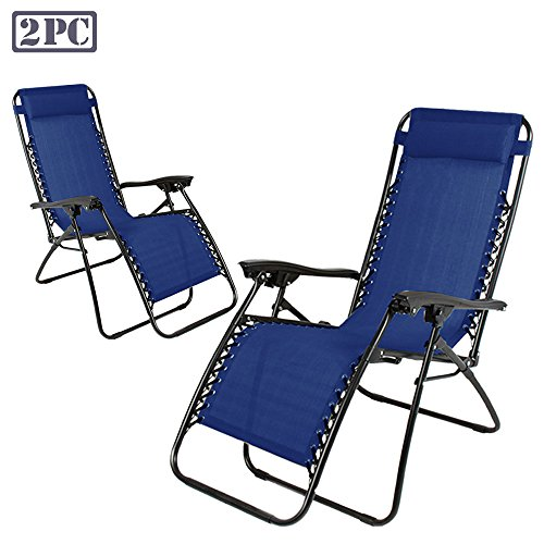 PARTYSAVING Infinity Zero Gravity Outdoor Lounge Patio Folding Reclining Chair Set of 2 GPL1015, Navy Blue