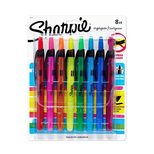 Sharpie Accent Retractable Highlighters, Assorted, Narrow Chisel Tip, 8/Pack