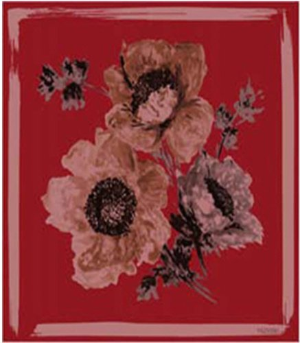 Valentino Glamorous Red and Black Square Scarf with Floral Print; Made in Italy