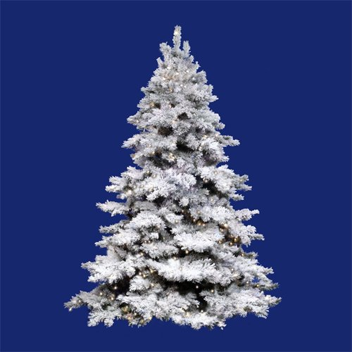 6.5' Pre-Lit Flocked Alaskan Artificial Christmas Tree - Clear Lights