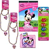 5 - Piece Minnie Mouse Bow-tique Fun Fashion Gift Set - 2 Minne Bow-tique Necklace and Bracelet Sets (1 Pink & 1 White), 1 Four Pack of Coloroful Plastic Minnie Mouse Rings, 1 Small Zipper Pouch (To Hold It All) and 1 Sticker Pad (4 Sheets) Gift Set for Kids