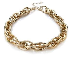 Silvity Damen Kunststoff Kette Statement Glieder Halskette Damen Ankerketten-Collier Farbe: Gold 46 x 2 cm 880901-20