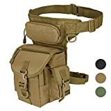 Military Tactical Drop Leg Bag Tool Fanny Thigh Pack Leg Rig Utility Pouch Paintball Airsoft Motorcycle Riding Thermite Versipack, Tan