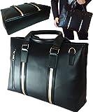 ブラック・クロスエープレミアムロング【マチ底12CM】 B4サイズ鞄 PC収納可 多ポケット 防水 日本デザイン レザービジネスバッグ (黒色)