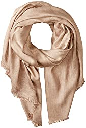 Michael Stars Women's Washed and Faded Scarf with Raw Edge Fringe, Sahara, One Size