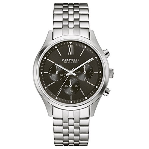 Caravelle New York Men's Quartz Watch with Black Dial Chronograph Display and Silver Stainless Steel Bracelet 43A133