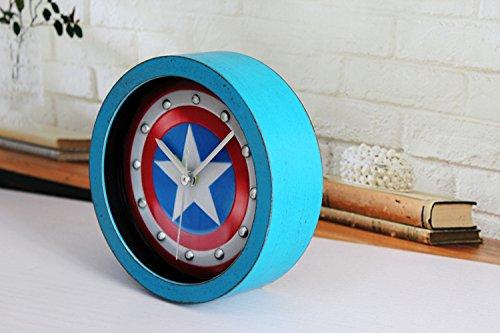 WeShop® - Vintage Imitation Wood 3D Captain America Shield Alarm Clock - Blue