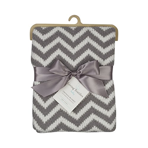 Living Textiles Chevron Blanket - Grey - Soft Chenille Knit In Classic, Neutral Grey And White With Modern Pattern. Cozy, Comfortable & Warm.
