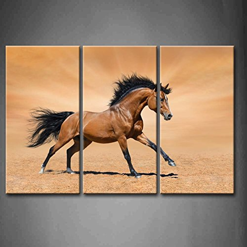 3 Panel Wall Art Brown Galloping Bay Horse On Gold Background Painting The Picture Print On Canvas Animal Pictures For Home Decor Decoration Gift Piece (Stretched By Wooden Frame,Ready To Hang)