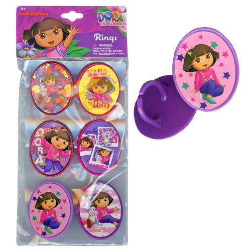 Dora 6pk Cupcake Topper Rings with Sticker on Plastic Insert
