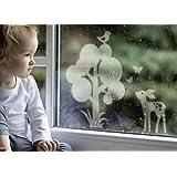 """Fenstertattoo - Motiv """"Bambi"""" aus Milchglasfolie in Farbton TRANSPARENT mit Silberglitzervon """"Lovala"""""""