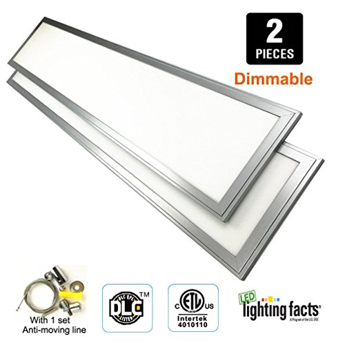 [2 Pack] Dimmable Led Panel Light 1x4ft 36W 4000k (Equivalent 280W incandescent), Daylight Grow, ETL+DLC listed , Eligible for Nationwide Rebate Programs ,Flat Ceiling Led Panels