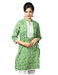 The Kurta Express Cotton Pink 3/4 Sleeve Self Print Kurti For Women - B00TLDCYXI