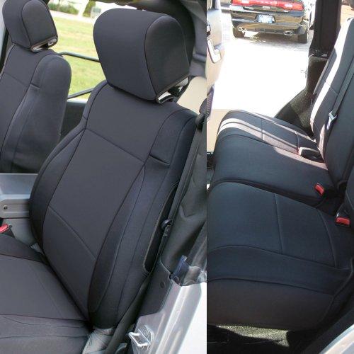 Leader Accessories 2008-2010 Jeep Wrangler Jk 4 Door Neoprene Custom Fit 2 X Front And 1X Rear Seat Covers (Solid Black)