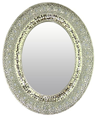 Lulu Decor, Oriental Oval Silver Metal Wall Mirror, Bevelled Mirror Size 25