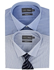 2 Pack Easy Care Plain & Striped Shirt with Tie