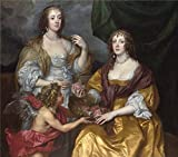 Oil Painting 'Anthony Van Dyck - Lady Elizabeth Thimbelby And Her Sister,about 1637', 20 x 23 inch / 51 x 58 cm , on High Definition HD canvas prints, gifts for Foyer, Garage And Gym Decoration, huge