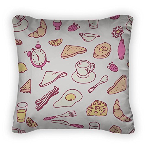 Gear New Doodle Breakfast Pattern Throw Pillow, Poplin, 14x14, GN27019