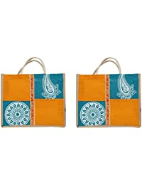 Cristal Bags Jute Blue Shopping Bags (Pack Of 2, Jute-482)