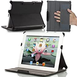 MoKo Genuine Leather Slim-Fit Folio Stand Case for Apple New iPad 4 & 3 (3rd and 4th Generation with Retina Dispaly) / IPad 2, Black