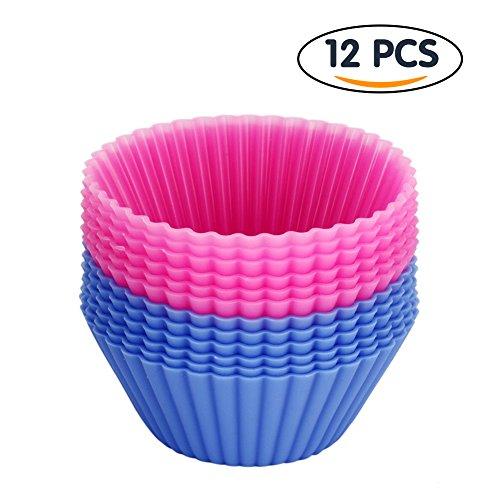 Tenn Well Moules en Silicone Idéals pour Muffins, Biscuit, Cupcake, Gateau et Crème Glacée - lot de 12 pcs (Rose et Bleu)
