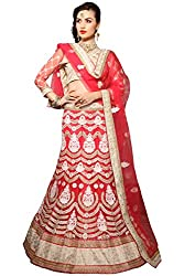 Jiya Presents Embroidered Net Lehenga Choli(Red,Beige)