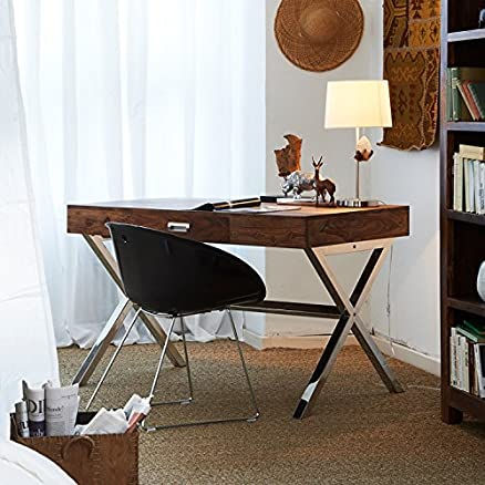 Legno Sheesham Dekor scrivania con design x gambe in acciaio INOX e piano in legno con 1cassetto, colore naturale, 118x 60x 76cms