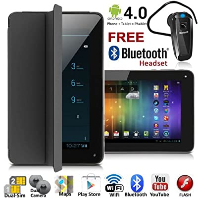"UNLOCKED! 7"" Android 4.0 GSM Dual-Sim Tablet Phone >FREE Smart Cover+Bluetooth< by Indigi"
