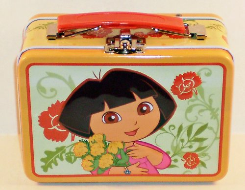 Dora the Explorer Flowers Small Embossed Lunch Box Tin/ Carry-all - 1
