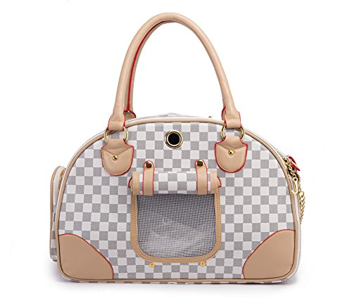 BETOP Fashion Dog Carrier PU Leather Dog Handbag Dog Purse Cat Tote Bag Pet Cat Dog Hiking Bag, White, Large 42*29*18cm
