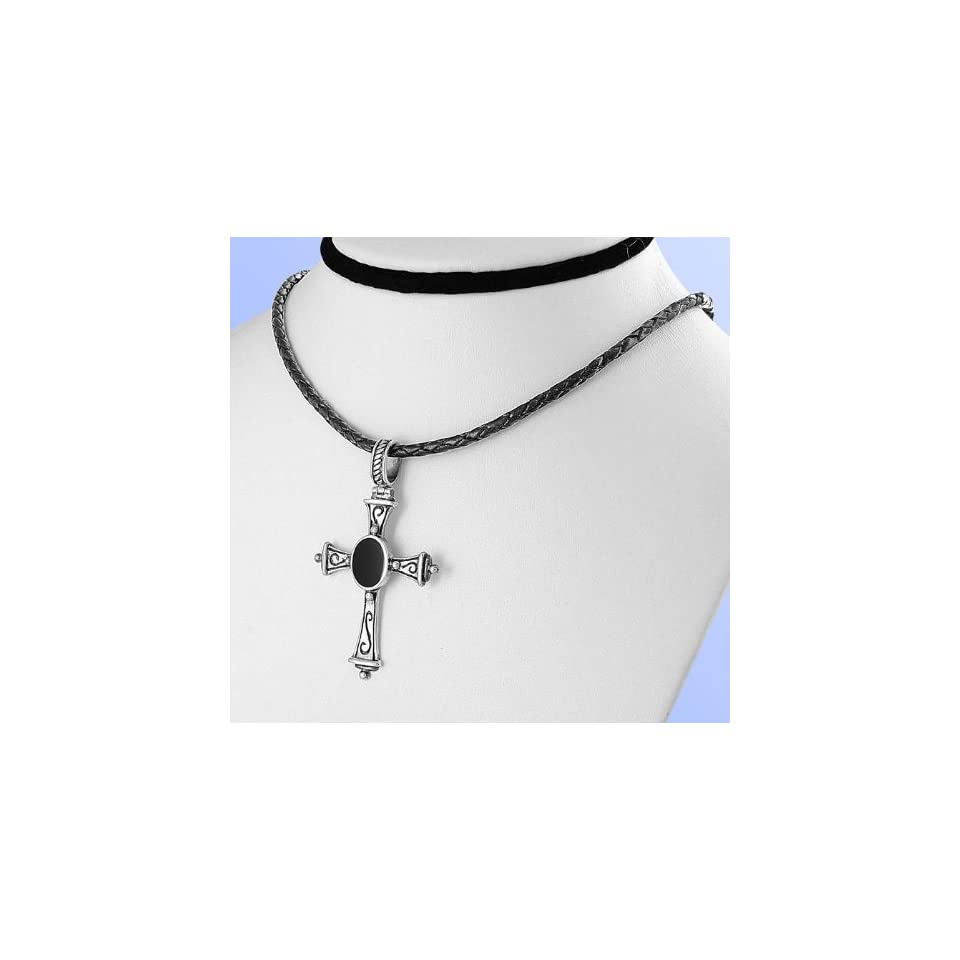 .925 Sterling Silver Necklace w/ Black Cord Chain   Cross Pendant w/ Black Onyx Natural Stone Jewelry