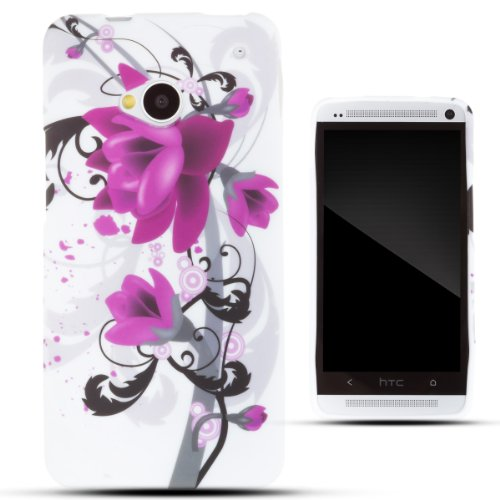 Zooky® Purple Tpu Flower Case / Cover / Shell For Htc One M7
