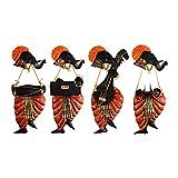 Dizionario Wrought Iron Ganesha Musician Set of 4 Designed Handcrafted Decorative Wall Hanging 21x46cm