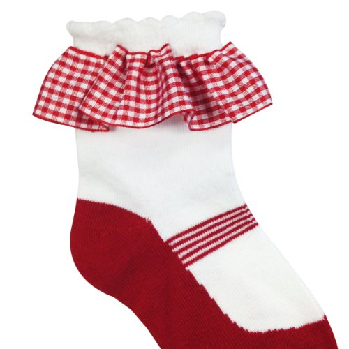 Wrapables Red Mary Jane Socks with Ruffle for Toddler Girl