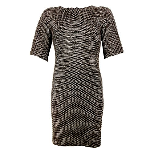 Armor Venue: Medieval Butted Short Sleeved Chainmail Hauberk Blackened Armour Silver