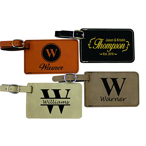Personalized Leather Luggage Tags - Engraved Business Travel Accessories Gift (Luggage Tags Personalized Leather compare prices)
