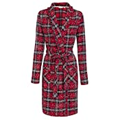 Women Brushed Flannel dressing Gown, Red Check