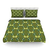 """Kess InHouse Holly Helgeson """"Flora Vine"""" Olive Green Cotton Duvet Cover, 88 by 104-Inch"""
